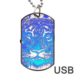 Background Fabric With Tiger Head Pattern Dog Tag Usb Flash (two Sides) by Amaryn4rt