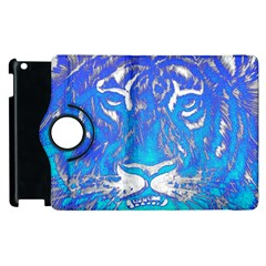 Background Fabric With Tiger Head Pattern Apple Ipad 2 Flip 360 Case by Amaryn4rt