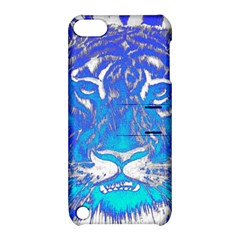Background Fabric With Tiger Head Pattern Apple Ipod Touch 5 Hardshell Case With Stand by Amaryn4rt