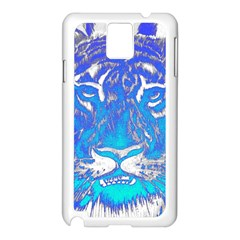 Background Fabric With Tiger Head Pattern Samsung Galaxy Note 3 N9005 Case (white) by Amaryn4rt