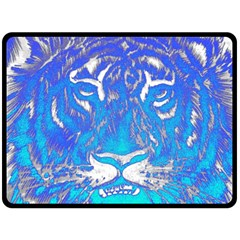 Background Fabric With Tiger Head Pattern Double Sided Fleece Blanket (large)  by Amaryn4rt