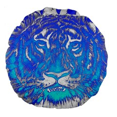 Background Fabric With Tiger Head Pattern Large 18  Premium Flano Round Cushions by Amaryn4rt