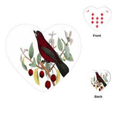 Bird On Branch Illustration Playing Cards (heart)  by Amaryn4rt