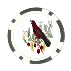 Bird On Branch Illustration Poker Chip Card Guard (10 Pack) by Amaryn4rt