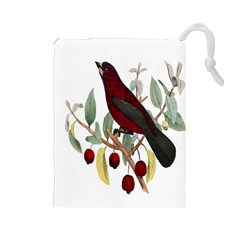 Bird On Branch Illustration Drawstring Pouches (large)  by Amaryn4rt