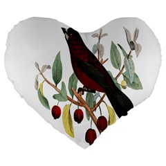Bird On Branch Illustration Large 19  Premium Flano Heart Shape Cushions by Amaryn4rt