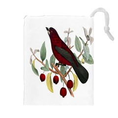 Bird On Branch Illustration Drawstring Pouches (extra Large) by Amaryn4rt
