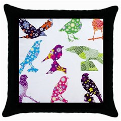 Birds Colorful Floral Funky Throw Pillow Case (black) by Amaryn4rt