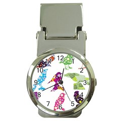 Birds Colorful Floral Funky Money Clip Watches by Amaryn4rt
