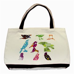 Birds Colorful Floral Funky Basic Tote Bag by Amaryn4rt