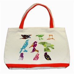Birds Colorful Floral Funky Classic Tote Bag (red) by Amaryn4rt