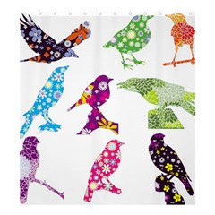Birds Colorful Floral Funky Shower Curtain 66  X 72  (large)  by Amaryn4rt