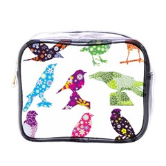 Birds Colorful Floral Funky Mini Toiletries Bags by Amaryn4rt