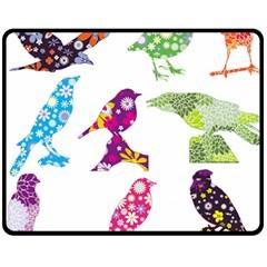 Birds Colorful Floral Funky Fleece Blanket (medium)  by Amaryn4rt