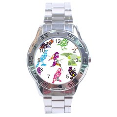 Birds Colorful Floral Funky Stainless Steel Analogue Watch by Amaryn4rt