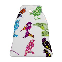 Birds Colorful Floral Funky Bell Ornament (two Sides)