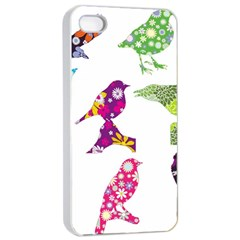 Birds Colorful Floral Funky Apple Iphone 4/4s Seamless Case (white) by Amaryn4rt
