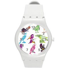 Birds Colorful Floral Funky Round Plastic Sport Watch (m) by Amaryn4rt