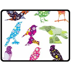 Birds Colorful Floral Funky Double Sided Fleece Blanket (large)  by Amaryn4rt