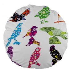 Birds Colorful Floral Funky Large 18  Premium Flano Round Cushions by Amaryn4rt