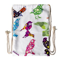 Birds Colorful Floral Funky Drawstring Bag (large) by Amaryn4rt