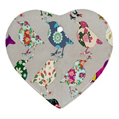 Birds Floral Pattern Wallpaper Ornament (heart) by Amaryn4rt