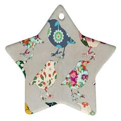 Birds Floral Pattern Wallpaper Ornament (star) by Amaryn4rt