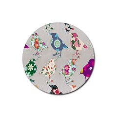 Birds Floral Pattern Wallpaper Rubber Coaster (round)  by Amaryn4rt