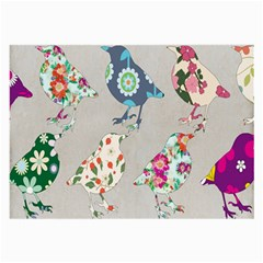 Birds Floral Pattern Wallpaper Large Glasses Cloth