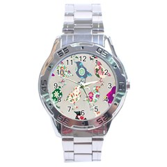 Birds Floral Pattern Wallpaper Stainless Steel Analogue Watch by Amaryn4rt