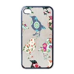 Birds Floral Pattern Wallpaper Apple Iphone 4 Case (black) by Amaryn4rt