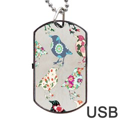 Birds Floral Pattern Wallpaper Dog Tag Usb Flash (one Side) by Amaryn4rt
