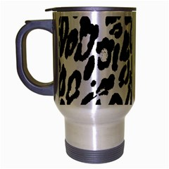 Black And White Leopard Skin Travel Mug (silver Gray) by Amaryn4rt