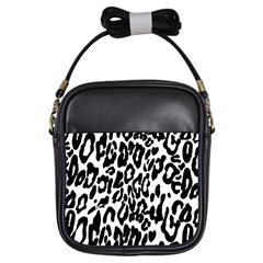Black And White Leopard Skin Girls Sling Bags by Amaryn4rt
