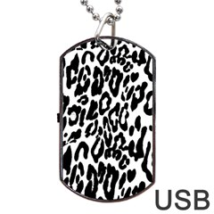 Black And White Leopard Skin Dog Tag Usb Flash (one Side) by Amaryn4rt