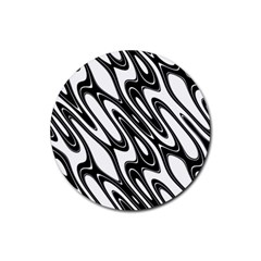 Black And White Wave Abstract Rubber Round Coaster (4 Pack)  by Amaryn4rt