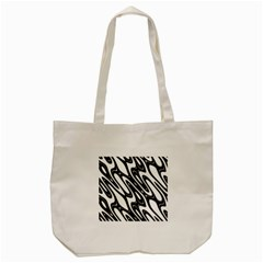 Black And White Wave Abstract Tote Bag (cream) by Amaryn4rt