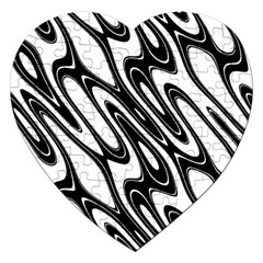 Black And White Wave Abstract Jigsaw Puzzle (heart) by Amaryn4rt