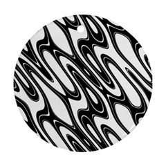 Black And White Wave Abstract Round Ornament (two Sides) by Amaryn4rt