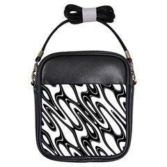 Black And White Wave Abstract Girls Sling Bags by Amaryn4rt