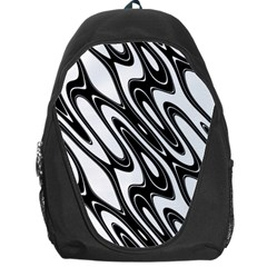Black And White Wave Abstract Backpack Bag by Amaryn4rt