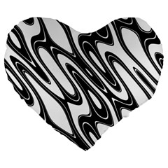 Black And White Wave Abstract Large 19  Premium Flano Heart Shape Cushions by Amaryn4rt