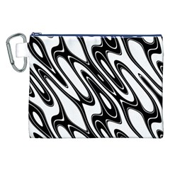 Black And White Wave Abstract Canvas Cosmetic Bag (xxl) by Amaryn4rt