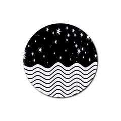 Black And White Waves And Stars Abstract Backdrop Clipart Rubber Coaster (Round)