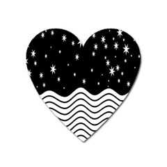 Black And White Waves And Stars Abstract Backdrop Clipart Heart Magnet by Amaryn4rt