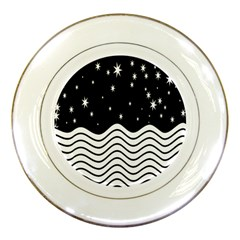 Black And White Waves And Stars Abstract Backdrop Clipart Porcelain Plates by Amaryn4rt