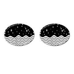 Black And White Waves And Stars Abstract Backdrop Clipart Cufflinks (oval) by Amaryn4rt