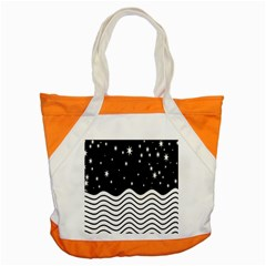 Black And White Waves And Stars Abstract Backdrop Clipart Accent Tote Bag by Amaryn4rt
