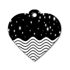 Black And White Waves And Stars Abstract Backdrop Clipart Dog Tag Heart (two Sides) by Amaryn4rt