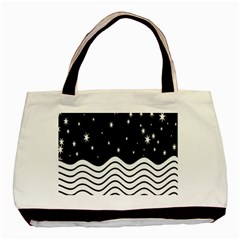 Black And White Waves And Stars Abstract Backdrop Clipart Basic Tote Bag (two Sides) by Amaryn4rt